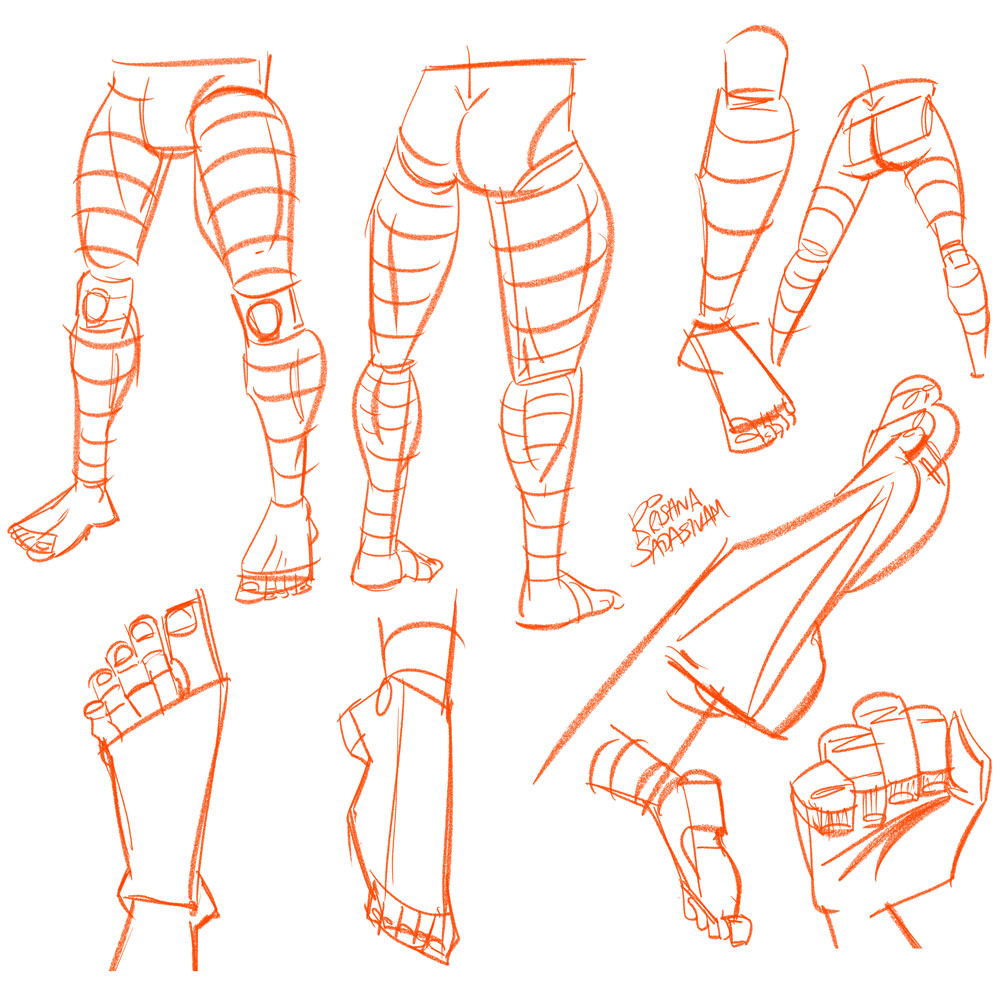 Anatomy Studies: Legs, Feet and Toes – Krishna Draws: Custom ...